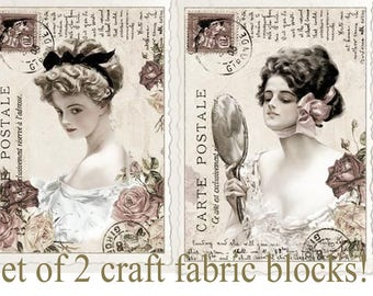Set of TWO 4x6 French Postcard Ephemera Fabric Blocks - Great for Quilting, Pillows & Wall Art - Buy 2, Get 1 FREE