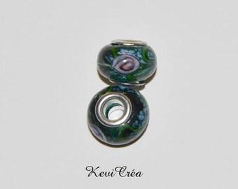1 x dark green Murano Lampwork Glass Pandora style beads, flowers