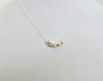 Silver Nugget Necklace  Sterling Silver Necklace Minimalist Necklace Faceted Nugget Necklace Feminine Necklace Chic Fine Chain