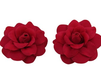 1 Pair Mini Rose Flower Hair Clip, 25 Colors Available