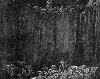 Tormented Souls Forgers Inferno Canto 29 Engraving Gustave Dore' Hell Black & White
