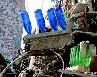 Magic Gardens Mosaic Art, Philadelphia Digital Download Photography, Blue Bottles, Reused Garbage, Recycled Materials, DIY Home Decor