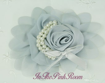 """Chiffon Rolled Rose with Pearls and Bow ~GREY~  4""""x5"""", Large, Serena Collection"""