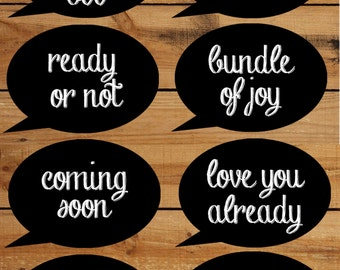 Baby Shower  Photobooth props chalkboard - Printable 8 page PDF with photo booth props chalk board