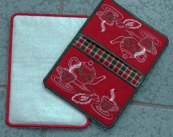 Christmas Potholder, Embroidered Christmas potholder, Christmas Teapot potholder, Embroidered teapot potholder, Teapot potholder