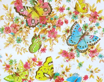 Vintage HY-SIL All-Occasion Wrapping Paper - Gift Wrap - BUTTERFLIES - with coordinating Gift Tag - 1970s