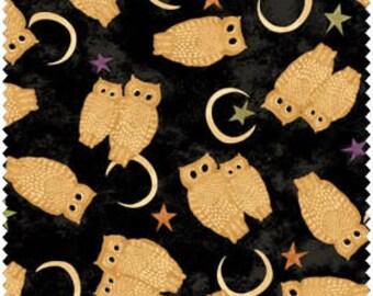 Owl Halloween Fabric - Black Cat Crossing by Maywood Studio MAS 9008 Z -  end of bolt - 1-1/4 yard