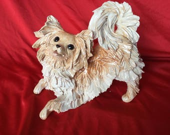 Long coat chihuahua dog figurine