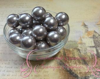 20mm Grey Acrylic Pearl Beads Qty 10