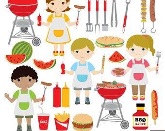Backyard BBQ Digital Clipart