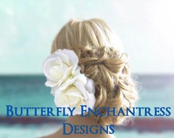 Wedding Hair Accessories, Bridal Hair Flowers, Flower Hair Clips - 2 Ivory Rose Hair Flowers
