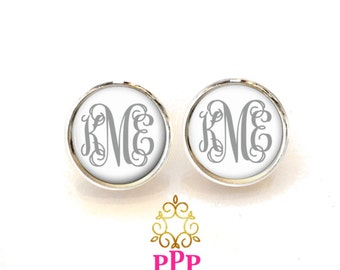 Silver Gray Monogram Earrings Monogram Jewelry Monogrammed Earrings Initial Jewelry  -  Style 557