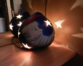 Light Up Santa Moon and Stars Gourd