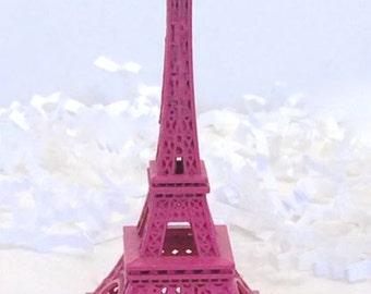 Little  Eiffel Tower Dark Rose Pink  Replica, Statue, Model  3 1/4 Inch