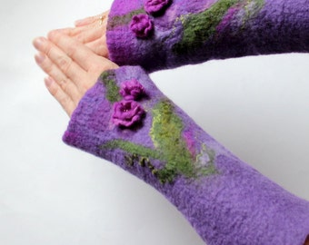 Felted cuffs arm warmers purple flower fairy wrist warmers mittens green leaf pixie