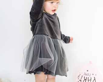 Gray princess dresses with white tulle-toodler dress-velour -tulle-baptist-gray-white tulle-dress princess