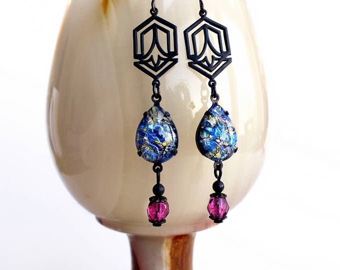 Blue Opal Dangle Earrings Vintage Harlequin Fire Opals Art Deco Jewelry Blue Pink Glass Dangles Gift For Her Something Blue