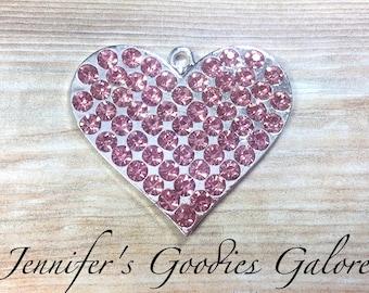 Pink Heart Rhinestone Pendant, 40*35mm Heart Pendant, Pink Heart, Valentine's Pendant, Chunky Bead Necklace, Chunky Necklace, DIY Necklace
