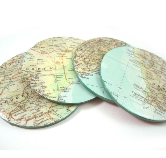 World map coaster set