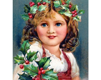 Christmas Card - Girl with Crown of Holly and Berries Notecard - Repro Vintage Style