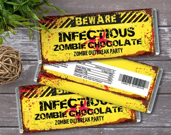 Zombie Candy Bar Wrapper - Zombie Outbreak Party, Halloween, Infectious Candy Wrapper/Label   DIY INSTANT Download PDF Printable