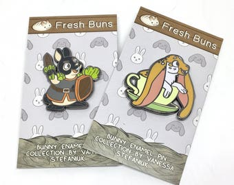 Fresh Buns Bunny Enamel Pin - House Rabbit - Soft Enamel Pin - Bunny lapel pin - Bunnies gift