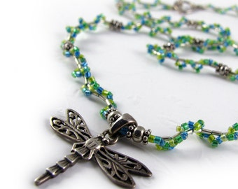 DRAGONFLY beaded necklace, spring green shades, miyuki glass delicas, sterling silver charm, beadwoven miyuki beads