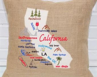 California Map Pillow, California Burlap Pillow, Burlap Pillows