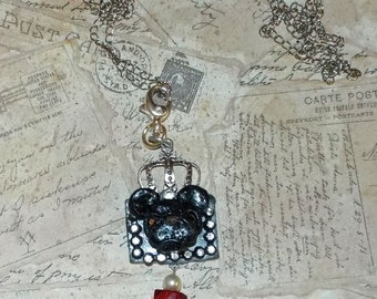 Vintage Antique Style Pendant Crown Black French Bulldog Ooak Unique Dirty Glamour Pendant Charm