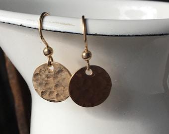 50% OFF Hammered Earrings, 14/ 20 K Goldfill Disc Earrings, Disc Earrings, Goldfill, Simple Earrings, Everyday Earrings, Etsy, Etsy Jewelry