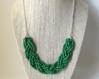 Green Beaded Braid Necklace