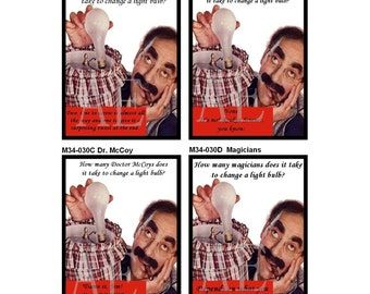 M34-030 Four AE 3x4 Fridge Magnets ~ Groucho Marx~ Hilarious Light Bulb Jokes, How many Dr. McCoys, Engineers, Writers ~ Customize Your Set!