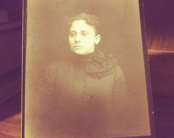 Woman with Dark Dress Against Dark Background - Antique Cabinet Card Photograph