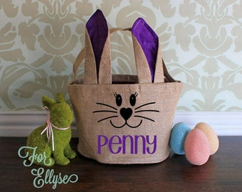 Burlap Easter Bunny basket - Purple Ears/Liner - Personalized Easter bucket