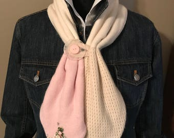 Pink and Cream Neck Warmer
