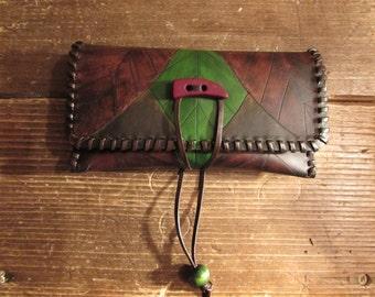 leather tobacco pouch leaf original