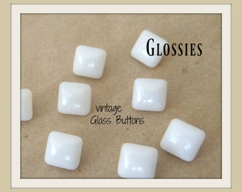 12 white GLOSSIES // Vintage Czech GLASS BUTTONs UNused // SHINY finish very smooth  // Subtle Domed shaping  Squares // 10mm  Diminutive