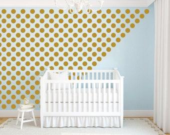 Polka Dot Decal Nursery Wall Decal. Gold Polka Dot Wall Decal Stickers. Gold Dot Decals Wall Vinyl Sticker Nursery Baby Room Decor F14