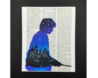 Harry Potter Print with Sparks of Glitter, Vintage Dictionary Page, Wall Decor