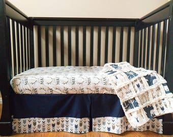 Navy Little Man Crib Bedding