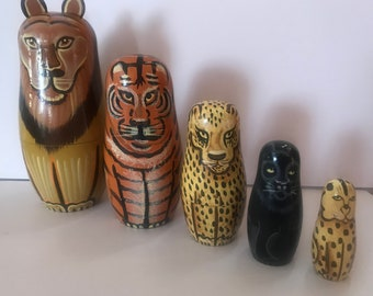 Vintage Bits and Pieces Wild Cats Matryoshka Dolls/Russian Dolls