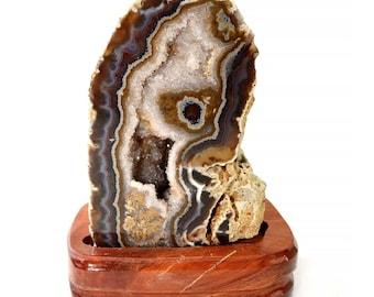 "2 lb Fancy AGATE Druzy Quartz Geode Slab on Wood Base 6.5"" Slice Crystal Point Flower Crystal Gift Healing Crystal and Stone #AG17"