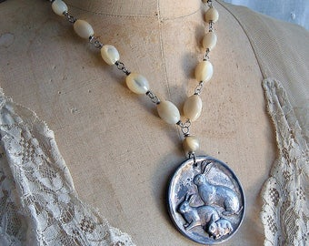 Repurposed Vintage Rabbit Bunny Medal Necklace Assemblage Vintage Childs Medal Rabbit Theme Necklace Mother of Pearl 1967 Birthday Gift