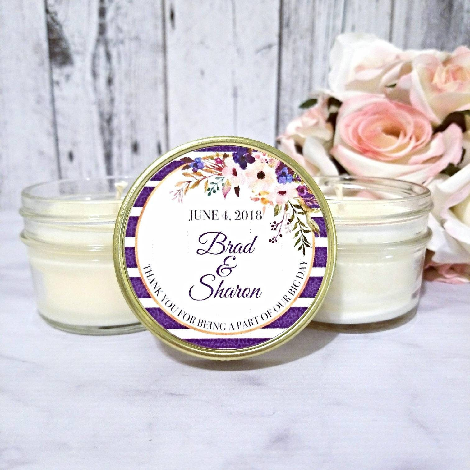 Purple and Gold Wedding Candle Favor - Soy Candle Favors - Wedding ...