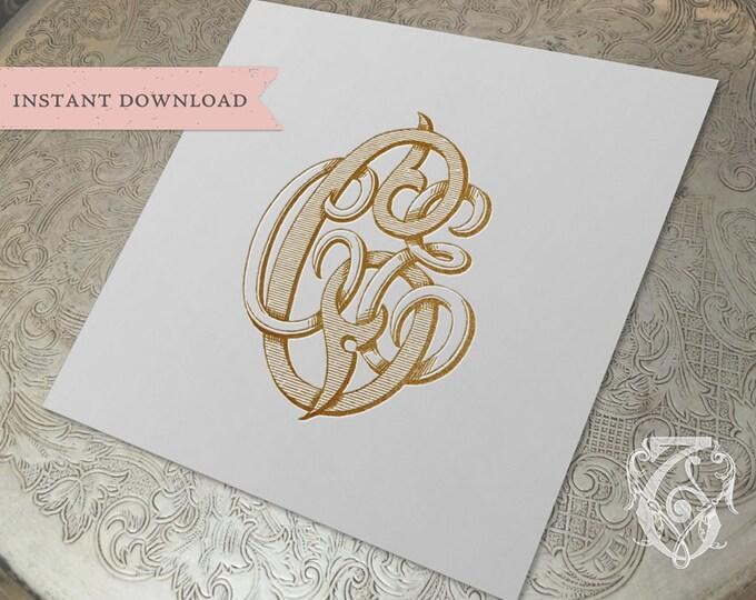 3 Initial Vintage Monogram CCE Three Letter Wedding Monogram Digital Download C C E