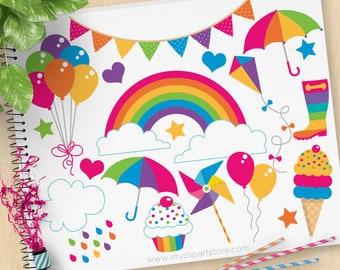 Rainbow Fun Clipart, Birthday, Cupcakes, Balloons, umbrella, party food, cooking, baking, weather icons, pinwheels, Vector Clip Art, SVG Cut