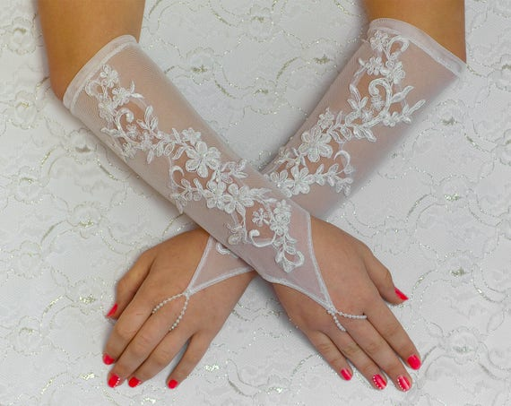 Elbow lace gloves, white wedding gloves, bridal gloves, evening gloves, prom gloves 04