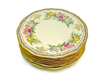 Rosenthal Ivory Bavaria Bread and Butter Plates, Set of 6, Evelyn Pattern No. 2778, Vintage Fine China Made in Germany 1930s