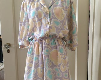 Parisian Pastel Print Mini Dress