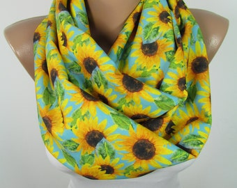 Gardening Gift Floral Scarf Infinity Scarf Sunflower Scarf Circle Scarf Clothing Gift For Her For Women Mothers Day Gift For Mom For Wife